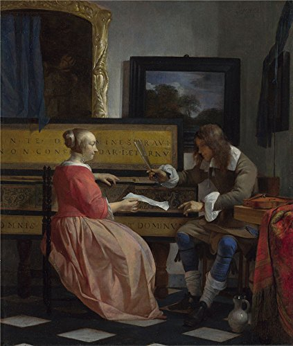 polyster Canvas ,the Amazing Art Decorative Prints on Canvas of oil painting 'Gabriel Metsu A Man and a Woman seated by a Virginal ', 12 x 14 inch / 30 x 36 cm is best for Hallway gallery art and Home artwork and Gifts
