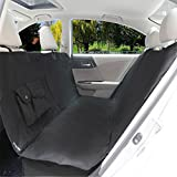 Dog Car Seat Covers, EVELTEK Universal Fit Waterproof Nonslip and Machine-Washable Pet Hammock for Cars, SUV, Vans & Trucks, With Side Flaps, Pockets and Hammock Front Zipper Design - Black
