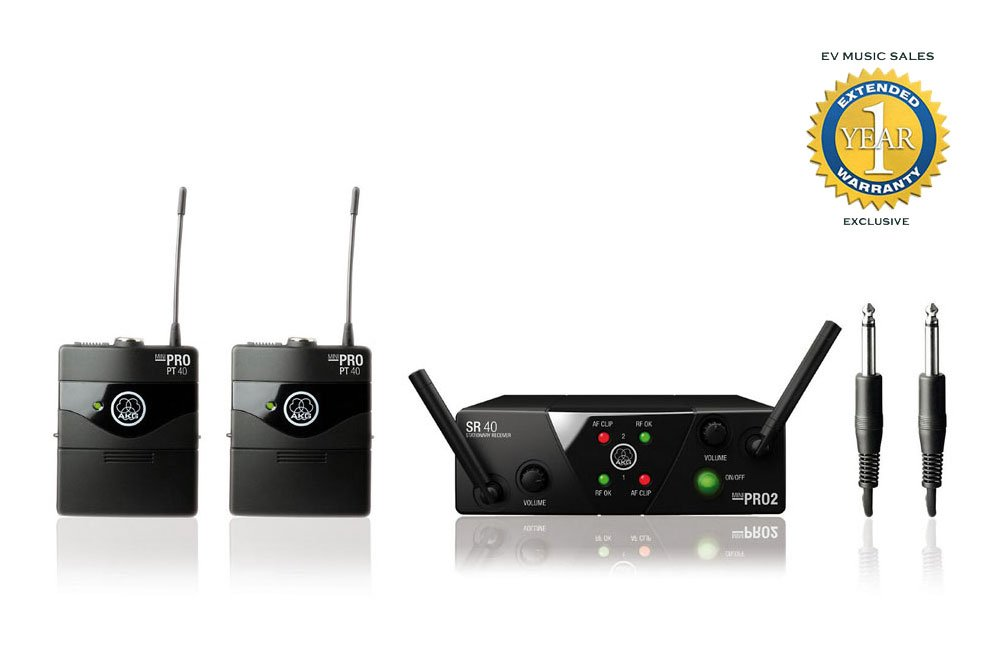 AKG WMS40 Mini2 Dual Instrumental Set Wireless Microphone System with 1 Year Free Extended Warranty
