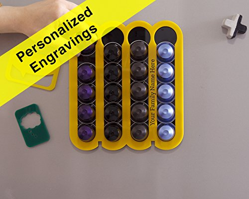 Essenza Single (Personalized Engraving Custom Name Gift Yellow Nesspresso coffee pod holder)