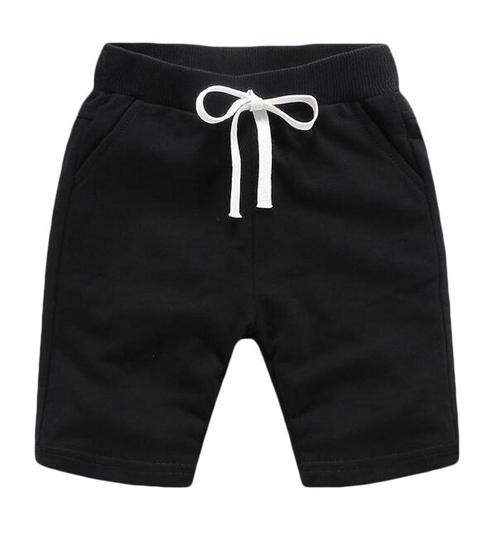 Wopop Little Kids Boy Pure Colour Beachwear Elastic Waist Drawstring Sport Shorts