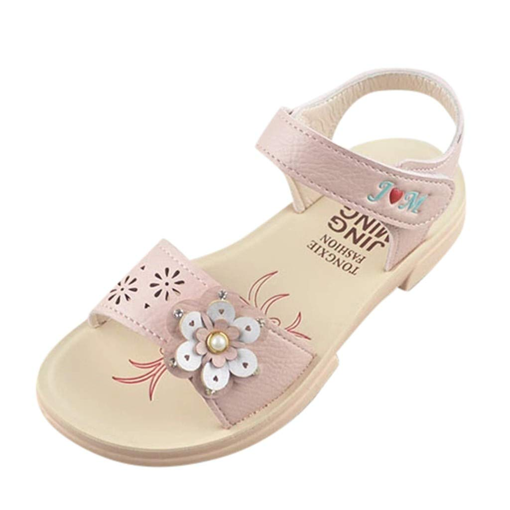 Cloudro Children Girls Beach Sandals Flower Pearl Princess Sneaker Shoes for 1-14 T