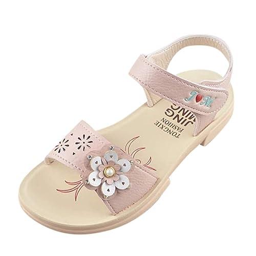 c88fc46e98 Sandalias para Niñas Playa Verano 2019 PAOLIAN Zapatos Princesa Fiesta  Vestir Chicas Calzado Casual Romano Zapatillas Velcro con Bowknot 3-12  Años: ...