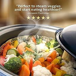 Premium Vegetable Steamer Basket - 5.5-9.3'' - Best Bundle - Fits Instant Pot Pressure Cooker - 100% Stainless Steel - Bonus Accessories - Duo Julienne Peeler, Safety Hook Insert & Steam Food eBook