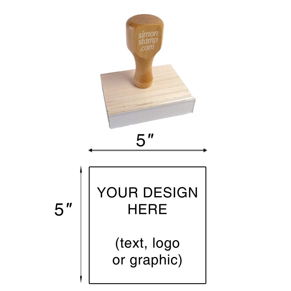 Traditional Wood Handle Rubber Stamp. Max. Image Size: 5'' high x 5'' Wide (127mm x 127mm) - Many Sizes to Choose from - Upload Your Own Artwork by Simon's Stamps