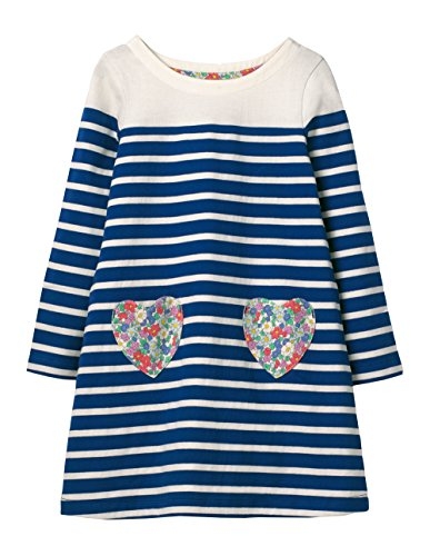 Bumeex Toddler Little Girl Long Sleeve Tunic Dresses (Navy Stripe Heart, 2T(for 1-2years))
