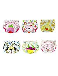 Baby Girls Washable Training Pants Kids Cartoon Potty Cloth Diaper Nappy Underwear Pack of 6 Size S