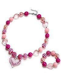 Glitter Heart Pendant Chunky Bubblegum Necklace and Bracelet Set Girls Valentines Day Gift