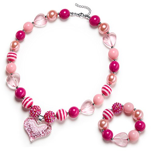 Vcmart Glitter Heart Pendant Chunky Bubblegum Necklace and Bracelet Set Girls Valentines Day Gift