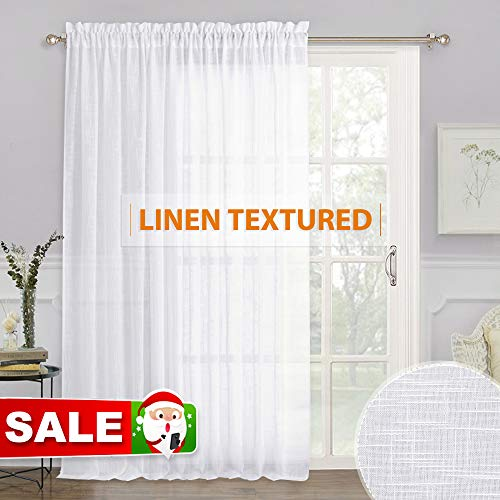 RYB HOME White Sheer Curtains - Linen Sheer Curtain Large Window Privacy Panel for Living Room Dining Bedroom Patio Sliding Glass Door Christmas Decor, 100 inches Wide x 84 inches Long, 1 Pc (Patio Lace Panels)
