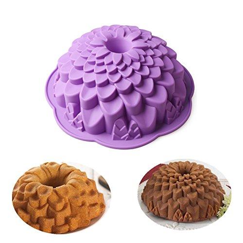 Delidge 3D Baking Silicone Cake Mold,DIY Creative Baking Pastry Tools Random Color (5. Chrysanthemum) (Chrysanthemum Bundt Pan)