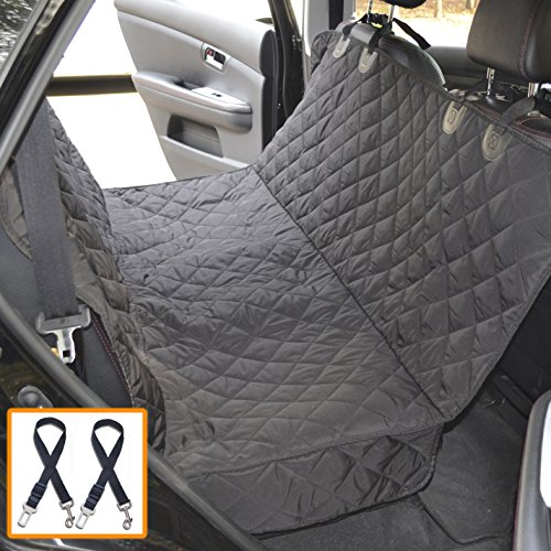 Dog Seat Covers for Cars by Silk Way with 2 Dog Seat Belts (Bonus) – Convertible to Cargo Area Liner – Sturdy Pet Seat Cover with Strong Straps and Seams, 100% Waterproof, Fits Most Cars (Black)