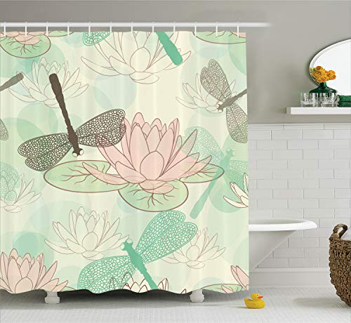 Ambesonne Country Decor Collection, Floating Water Lily and Dragonfly Figures on the Lake in Mild Soft Color Designed Print, Polyester Fabric Bathroom Shower Curtain Set with Hooks, Pink Green