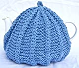 Knit Tea Cozy Cosy Handmade Washable Blue