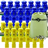 26 Blue and Yellow Robotic Foosball Men with Free Screws and Nuts and Billiard Evolution Drawstring Bag