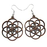 Seed of Life Earrings with Silver hooks, Wooden laser cut earrings, Sacred Geometry Jewelry