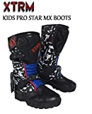 KIDS MOTORCYCLE BOOTS XTRM PRO STAR MX OFF ROAD BOOTS Motorbike Quad ATV BMX MTB Motocross Dirt-Bike Junior Sports Racing Touring Boots (Camo Blue) - Camo Blue - UK2 / EU36