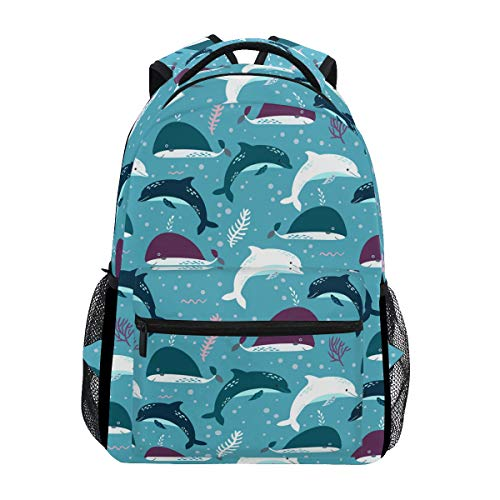 Miami Dolphin Costume Fun Trekking Backpack Fashion Backpack Oversized Backpack Men and Women Durable Travel Computer Backpack 17 Inch Notebook Waterproof Large Business -