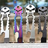 xenomorph bottle opener - 1 Pack Random Color Mini Repair Screwdriver Crowbar Skull Titanium Stainless Steel Bottle Opener Keychain Key Ring Chains Wrist Holder Strap Splendid Popular Beer Openers Corkscrew Utility Pocket