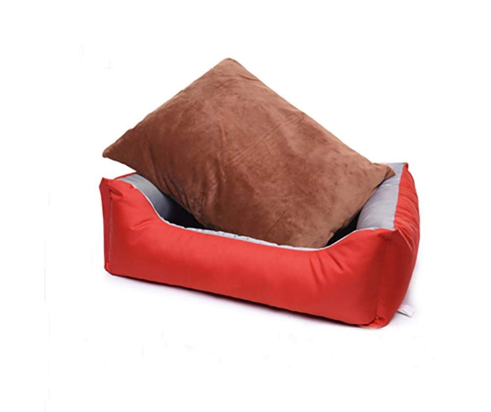 Red MGperw Premium Waterproof Dog Beds,Comfort Bed, Durable Oxford Material Non Slip Cushion Pad (color   Yellow, Size   L)