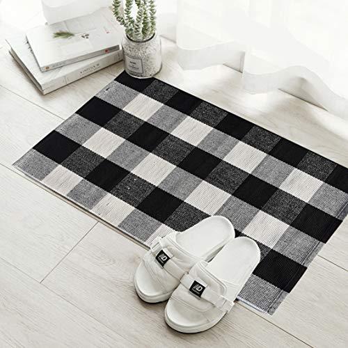 - Love Happy Buffalo Check Plaid Bath Runner Cotton Plaid Checkered Bath Mat Kitchen Mat Entry Way Bath Doormat Bedroom Carpet (24