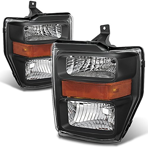 Black 08-10 Ford F250/350/450/550 Superduty Pickup Truck Headlights Lamps Direct Replacement Pair