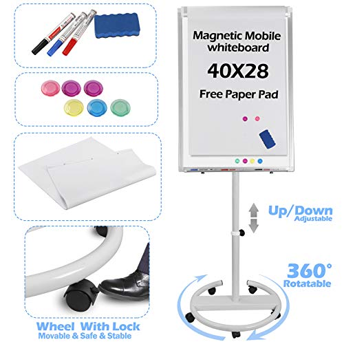 Mobile Whiteboard Dry Erase Board with Rolling Stand for Office/Home/Classroom/Conference 40x28 inches Height Adjustable Magnetic Whiteboard (#1)