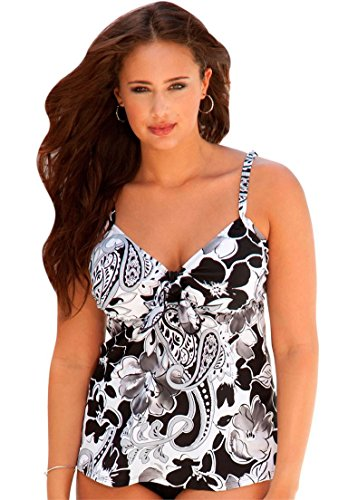 3323d5fb513 Shore Club Women s Plus Size Shore Club Tie Front Tankini Moonstruck  Paisley