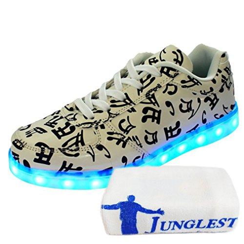 [Present:small towel]JUNGLEST® Unisex LED Light Up Shoes Women Men 7 Colors Luminous Sneakers USB Charging Low-Top Glowing L initial