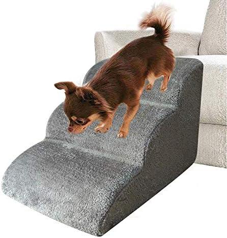 Schildeng Hundetreppe | Katzentreppe Haustiertreppe | Hunde Katzen Haustier | für Bett und Auto, 3 Stufen, Waschbar
