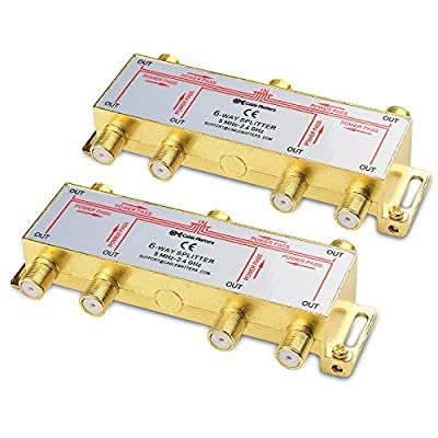 Cable Matters 2-Pack, Gold Plated 6-Way 2.4 Ghz Balanced Coaxial Splitter