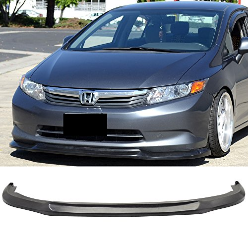 Front Bumper Lip Fits 2012 Honda Civic | Black PU Front Lip Finisher Under Chin Spoiler Add On by IKON MOTORSPORTS ()