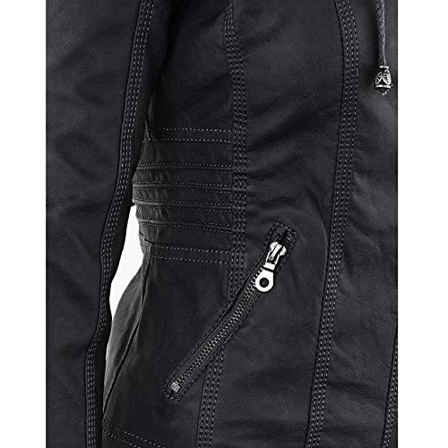 Plus Giubbotto Finta Jacket Fit Cappotto Autunno Vintage Pelle Lunga Invernali Schwarz Costume Prodotto Eleganti Moto Manica Biker Moda Slim Donna Giacca Di Incappucciato qTwZ4x1