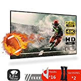 120 inch Projector Screen, 16:9 HD Indoor and Outdoor 4k Portable Foldable and Washable Anti-Crease Projection Movie Screen for Home Theater and Public Presentation, Support Double Sided Projection