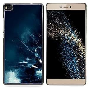 """Qstar Arte & diseño plástico duro Fundas Cover Cubre Hard Case Cover para Huawei Ascend P8 (Not for P8 Lite) (Olas Apocalypse Futuro Ciudad Azul Arte"""")"""