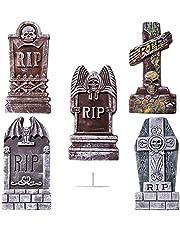 JOYIN 5 stuks 43 cm Halloween decoratie, schuimrubberen rip-grafstenen met 12 metalen grondpunten voor Halloween tuindecoratie