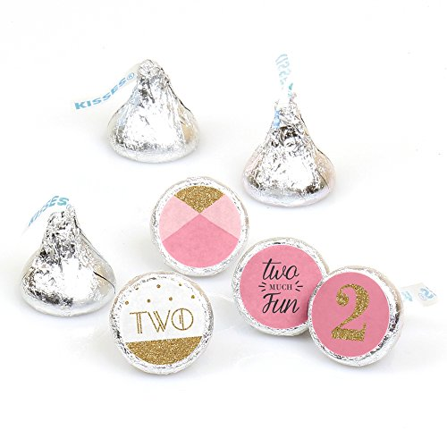 (Two Much Fun - Girl - 2nd Birthday Party Round Candy Sticker Favors - Labels Fit Hershey's Kisses (1 Sheet of)