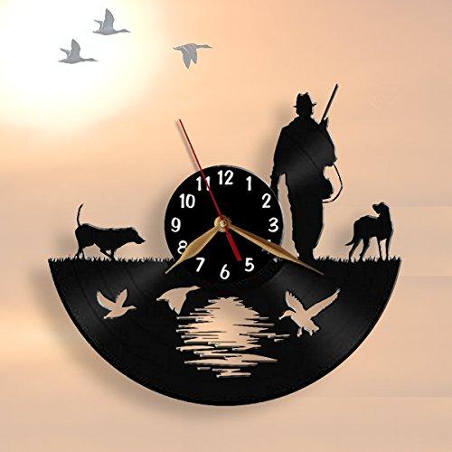 Hunter Wall Clock 12 inch (30cm) / Laser cut of Vintage Vinyl Record (Black clockface, Arabic (Decor Hunting Wall Clock)
