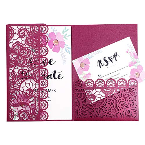 FEIYI 20pcs 3 Folds Laser Cut Lace Flower Pattern Invitations Cards for Birthday Baby Shower Wedding Rehearsal Dinner Invites Birthday Invites (Burgundy)