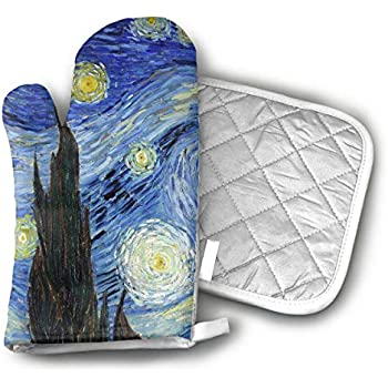 d186ebaa1b3 TRENDCAT Van Gogh Starry Night Oven Mitts and Potholders (2-Piece Sets) -  Extra Long Professional Heat Resistant Pot Holder   Baking Gloves - Food  Safe