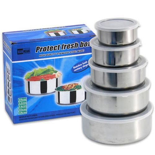 10-piece Stainless Steel Bowl Set with Lids for Mixing, Serving or Food Storage