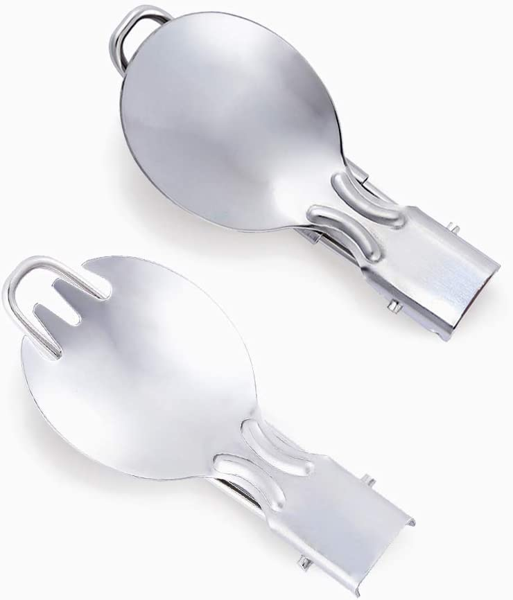 YCANDOIT Outdoor Travel Camping Creative Portable Tableware Stainless Steel Folding Fork Spoon Tableware