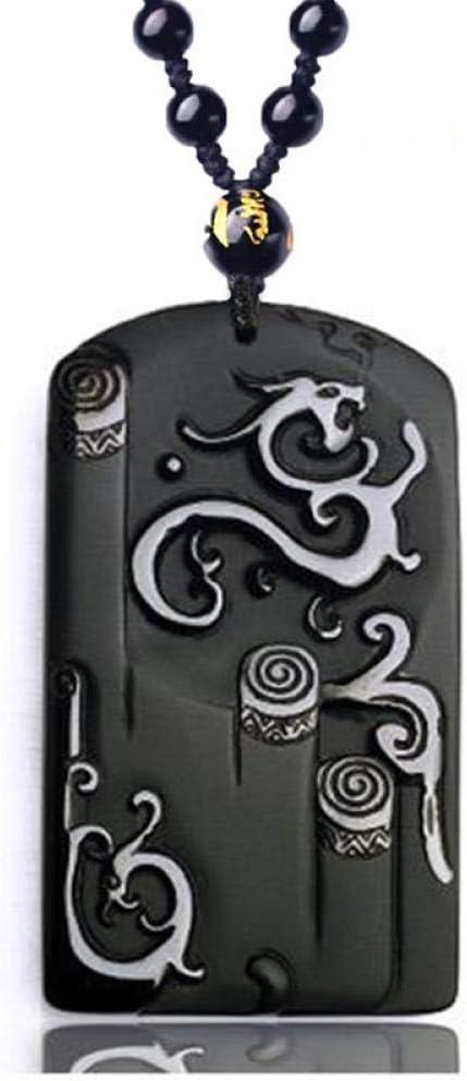 VFJLR Colgante Colgante de obsidiana Negra Colgante de obsidiana Dragón Antiguo y Jade de Phoenix Colgante de Jade Joyas Joyas paraHombres Joyas para Mujeres