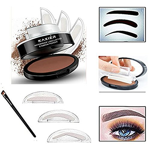 Taipo 3 Stencils Waterproof Eye Brow Stamp Perfect Eyebrow Power Seal Nature Delicate Shape Makeup Fashion Unique Brow Powder for Eyebrows Beginners Busy People (Light Brown)
