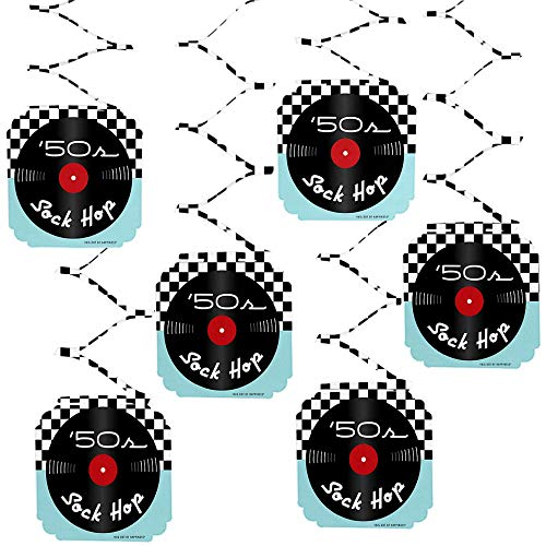 Big Dot of Happiness 50's Sock Hop - 1950s Rock N Roll Party Hanging Decorations - 6 Count ()