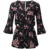 Awesome21 Floral Print Deep V-Neck 3/4 Ruffle Sleeve Romper Jumpsuit Black 2 Size L