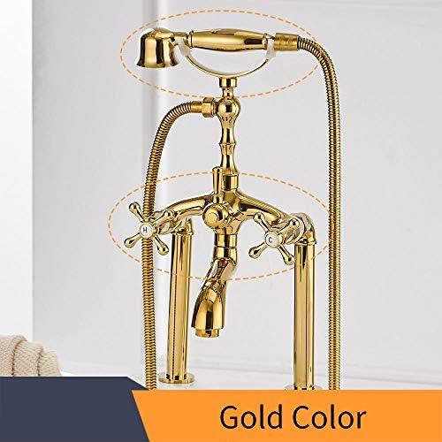 アンティークの浴槽の蛇口、冷水および温水デッキ付き真鍮多機能浴槽の蛇口セット2穴デュアルハンドルシャワーミキサータップ、ハンドヘルドシャワー付き,Gold b