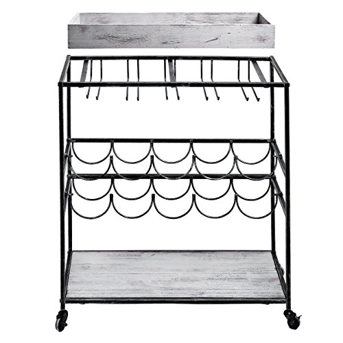 Old Dutch ''Avalon'' Wine and Serving Cart, Antique Pewter /Barnwood Gray, 28'' x 16'' x 32'' by Old Dutch (Image #2)'