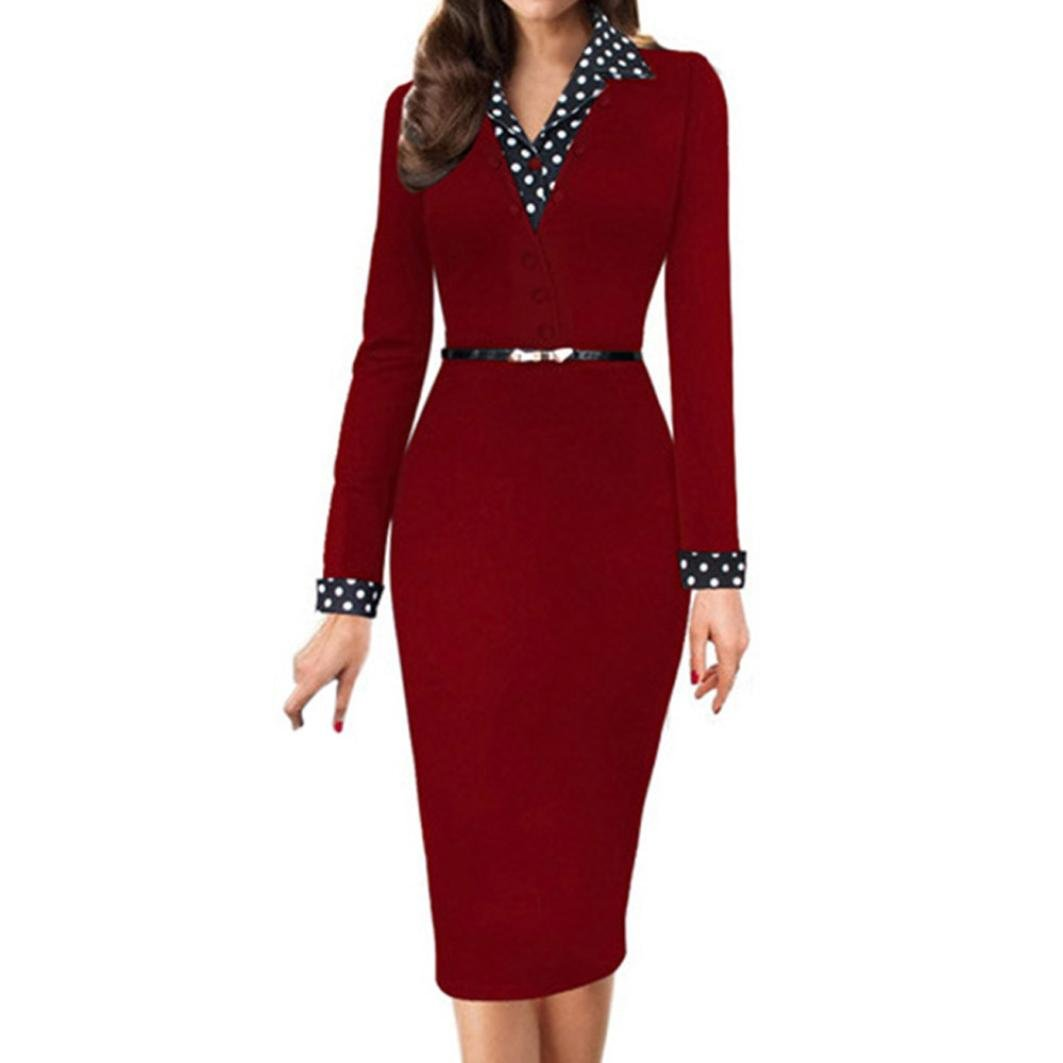 Manxivoo Women's Polka Dot Turn-Down Collar Bodycon Dress Long Sleeve Wear to Work Office Pencil Dress (Red, Small)
