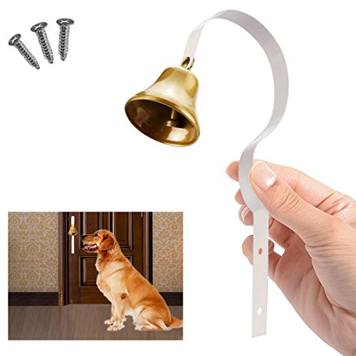 Comsmart Tinkle Dog Bell Pet Door Bell Hanging Brass Doorbell for Potty Training Housetraining Houserbreaking (White) ()